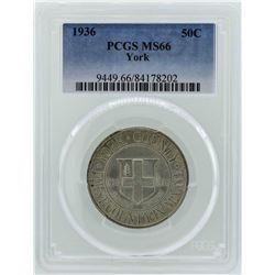 1936 York County, Maine Tercentenary Commemorative Half Dollar Coin PCGS MS66