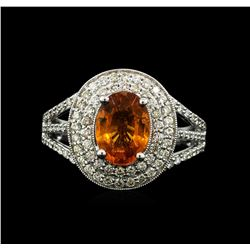 14KT White Gold 2.20 ctw Mandarin Spessartite and Diamond Ring