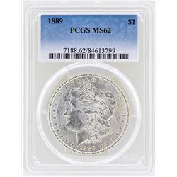 1889 $1 Morgan Silver Dollar Coin PCGS MS62