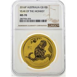 2016P Australia $100 Year of the Monkey Gold Coin NGC MS70