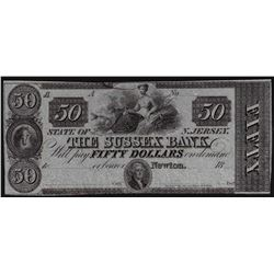 1800's $50 The Sussex Bank New Jersey Obsolete Bank Note