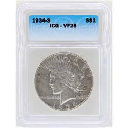 1934-S $1 Peace Silver Dollar Coin ICG VF25