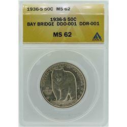 1936-S San Francisco - Oakland Bay Bridge Commemorative Half Dollar Coin ANACS M