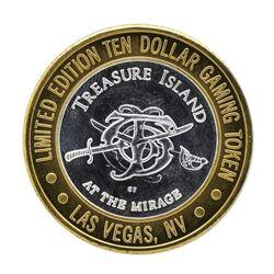 .999 Silver Treasure Island Las Vegas $10 Casino Gaming Token Limited Edition