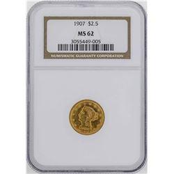 1907 $2 1/2 Liberty Head Quarter Eagle Gold Coin NGC MS62