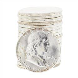 Roll of (20) 1962 Brilliant Uncirculated Franklin Half Dollar Coins