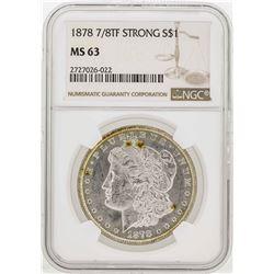 1878 7/8TF Strong $1 Morgan Silver Dollar Coin NGC MS63