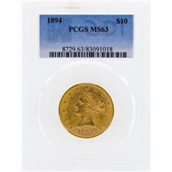 1894 $10 Liberty Head Eagle Gold Coin PCGS MS63