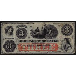 1862 $3 Somerset and Worcester Savings Bank Obsolete Note