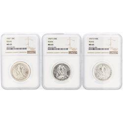 Set of (3) 1937/D/S Texas Commemorative Half Dollar Coin NGC MS65