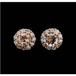 14KT Rose Gold 0.86 ctw Morganite and Diamond Earrings