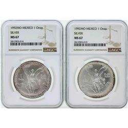 Set of (2) 1992MO Mexico 1 Onza Silver Libertad Coins NGC MS67