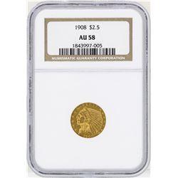 1908 $2 1/2 Indian Head Quarter Eagle Gold Coin NGC AU58