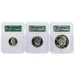 1976-S Washington Quarter, Kennedy Half Dollar & Eisenhower Dollar Coins ICG PR6
