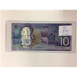 NEW 2017 POLYMER $10 CANADIAN BANK NOTE (LOW SN#)