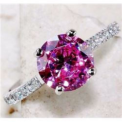 PINK SAPPHIRE & WHITE TOPAZ 925 SOLID GENUINE STERLING SILVER RING (SIZE 8)