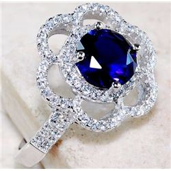 2 CT BLUE SAPPHIRE & WHITE TOPAZ 925 SOLID STERLING SILVER RING (SIZE 7)