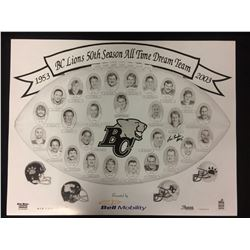 """BC LIONS 50TH SEASON ALL TIME DREAM TEAM PRINT AUTOGRAPHED BY LUIS PASAGLIA (16"""" X 20"""")"""