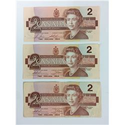 1986 TWO DOLLAR CANADIAN BANK NOTES LOT