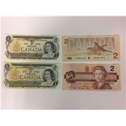 1986 TWO DOLLAR & 1973 ONE DOLLAR CANADIAN BANK NOTES LOT