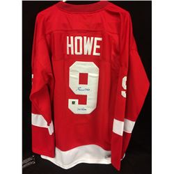 GORDIE HOWE AUTOGRAPHED RED WINGS HOCKEY JERSEY INSCRIBED MR. HOCKEY W/ COA
