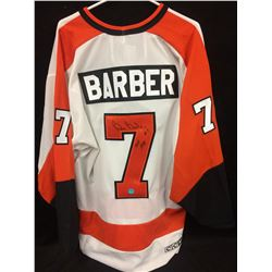 BILL BARBER AUTOGRAPHED FLYERS HOCKEY JERSEY INSCRIBED HOF 1990 W/ COA