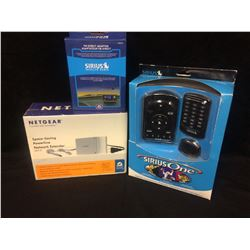 SIRIUS RADIO FM DIRECT ADAPTOR, SIRIUS REMOTES & NETGEAR POWERLINE NETWORK EXTENDER LOT (IN BOXES)