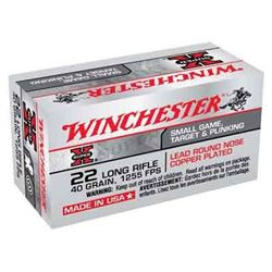 WINCHESTER AMMO SUPER-X .22LR 1255FPS. 40GR. LEAD RN 50-PACK