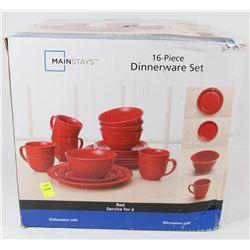 RED 15 PIECE MAINSTAYS DINNERWARE SET