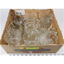 BOX 4) ASSORTED SUGAR BOWLS, DEPRESSION GLASS,
