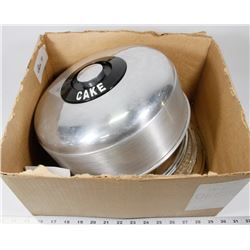 BOX 11)3 SIZES OF CAKE PLATTERS WITH CHROME DOMES