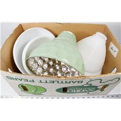BOX 15) 9 LAMP SHADES ASSORTED COLORS AND SIZES