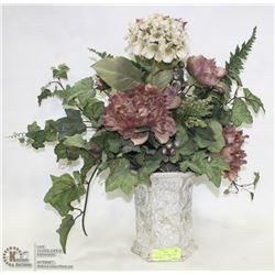 WHITE  CERAMIC SILK FLOWER  TABLE ARRANGEMENT