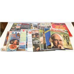 30 VINTAGE NEWSWEEK MAGAZINES 1960S-1970S.