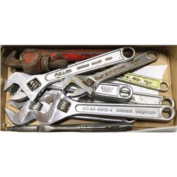 """BOX OF FIVE 8"""" CRESCENT WRENCHES TWO 6"""" CRESCENT"""