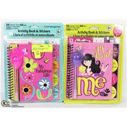 2 NEW ACTIVITY BOOKS AND STICKERS WITH PENS
