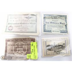 LOT OF 4 WWI GERMAN BANK NOTES