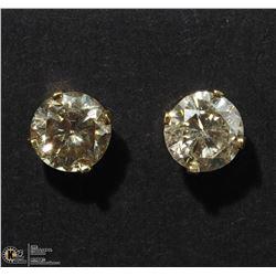 21) 10K YELLOW GOLD COGNAC DIAMOND STUD EARRINGS
