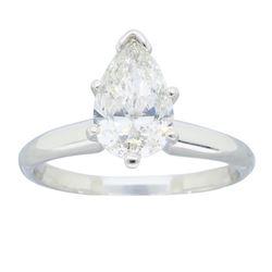 Platinum 1.06ct Pear Shaped Diamond Ring