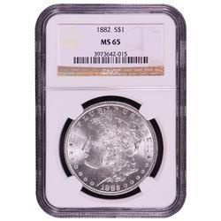 1882 $1 Morgan Silver Dollar Coin NGC MS65