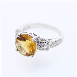 18KT White Gold 3.38ct Citrine and Diamond Ring