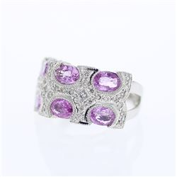 14KT White Gold 3.09ctw Pink Sapphire and Diamond Ring