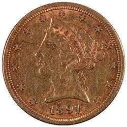 1891 $5 Liberty Head Half Eagle Gold Coin