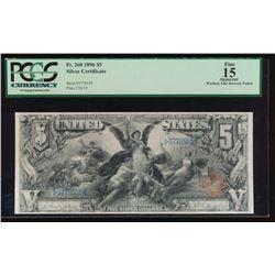 1896 $5 Silver Certificate PCGS 15