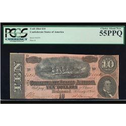 1864 $10 Confederate States of America Note PCGS 55PPQ