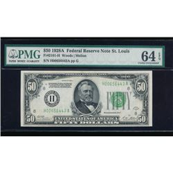 1928A $50 St Louis Federal Reserve Note PMG 64EPQ