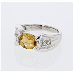14KT White Gold 1.68ct Citrine and Diamond Ring
