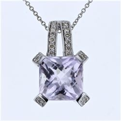 14KT White Gold 4.81ct Amethyst and Diamond Pendant with Chain