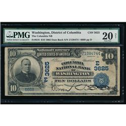 1902 $10 Washington DC National Bank Note PMG 20NET