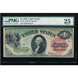 1869 $1 Legal Tender Note PMG VF25
